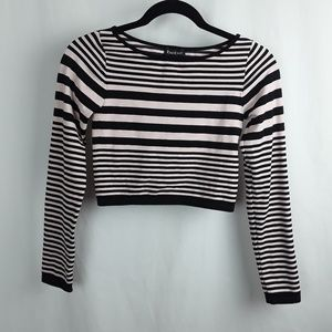 bebe Pink &  Black Stripe Crop Top